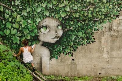 Street art Vinie graffiti feuilles portrait femme