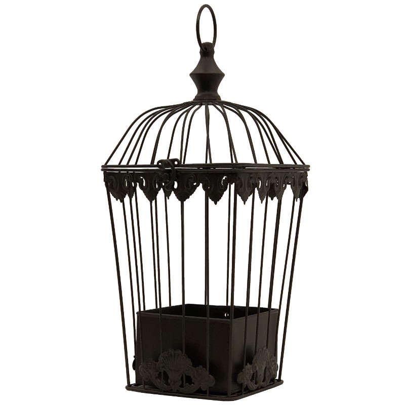 cage-de-decoration-en-fer-porte-plante-suspension-marron
