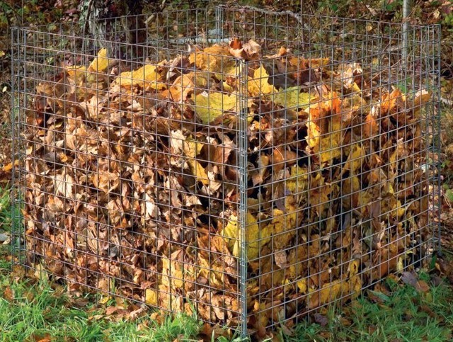 compost compostage feuilles mortes grillage