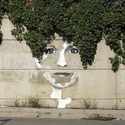 Street art portrait mur lierre pochoir