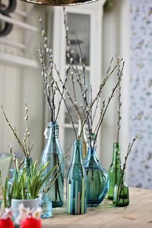 Branches de saules en bourgeon dans des bouteilles en verre bleu et vert