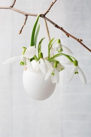 DIY vases en coquille d'oeuf suspendus, pour un joli décor de Pâques. Rdv sur le blog pour en savoir plus.