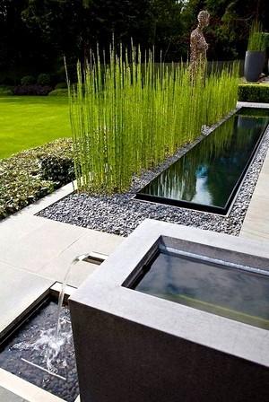 Dans un jardin moderne, les plans d'eau sont rectangulaires: lisez l'article du blog pour en savoir plus!