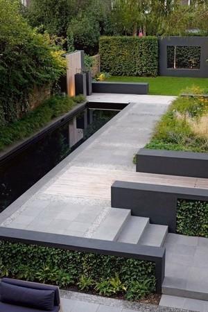 Le plan du jardin moderne est conçu de plusieurs rectangles qui s'imbriquent les uns dans les autres. Pour en savoir plus sur ce style de jardin, lisez l'article du blog!