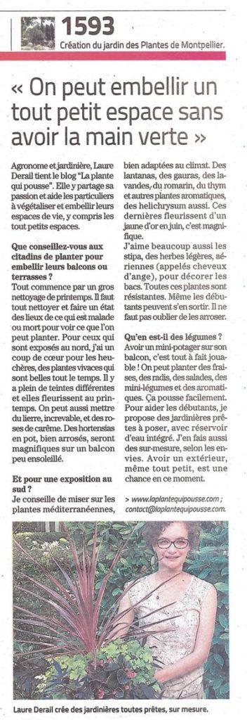 Embellir un tout petit espace avec des plantes, Article La Plante Qui Pousse dans le Midi Libre mars 2021